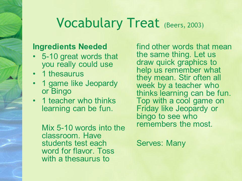 Vocabulary Treat (Beers, 2003)