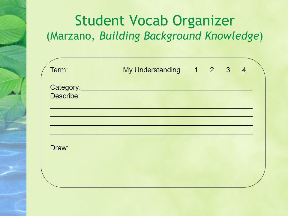 Student Vocab Organizer (Marzano, Building Background Knowledge)