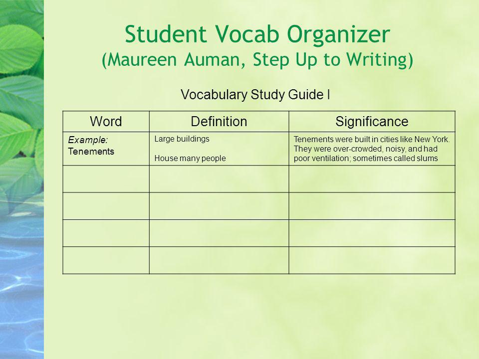 Student Vocab Organizer (Maureen Auman, Step Up to Writing)
