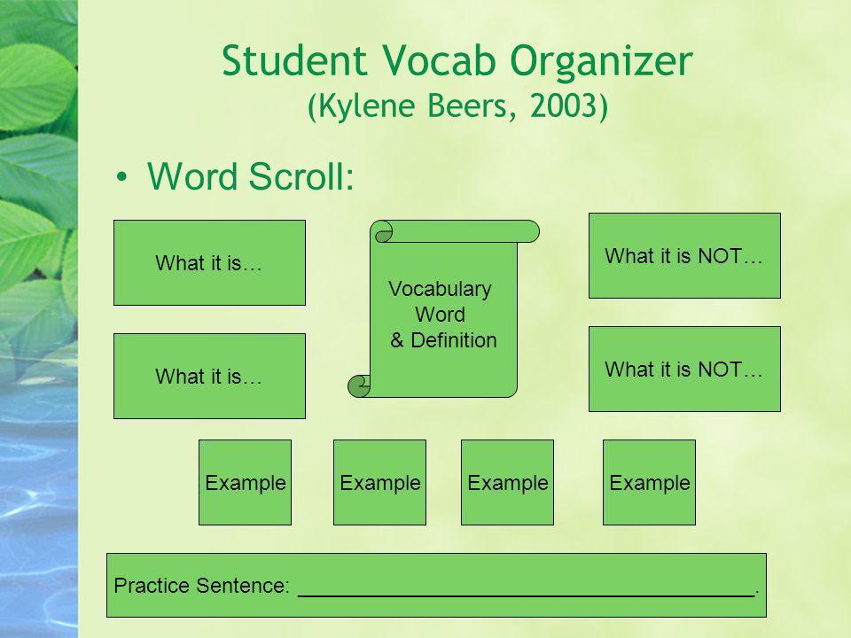 Student Vocab Organizer (Kylene Beers, 2003)