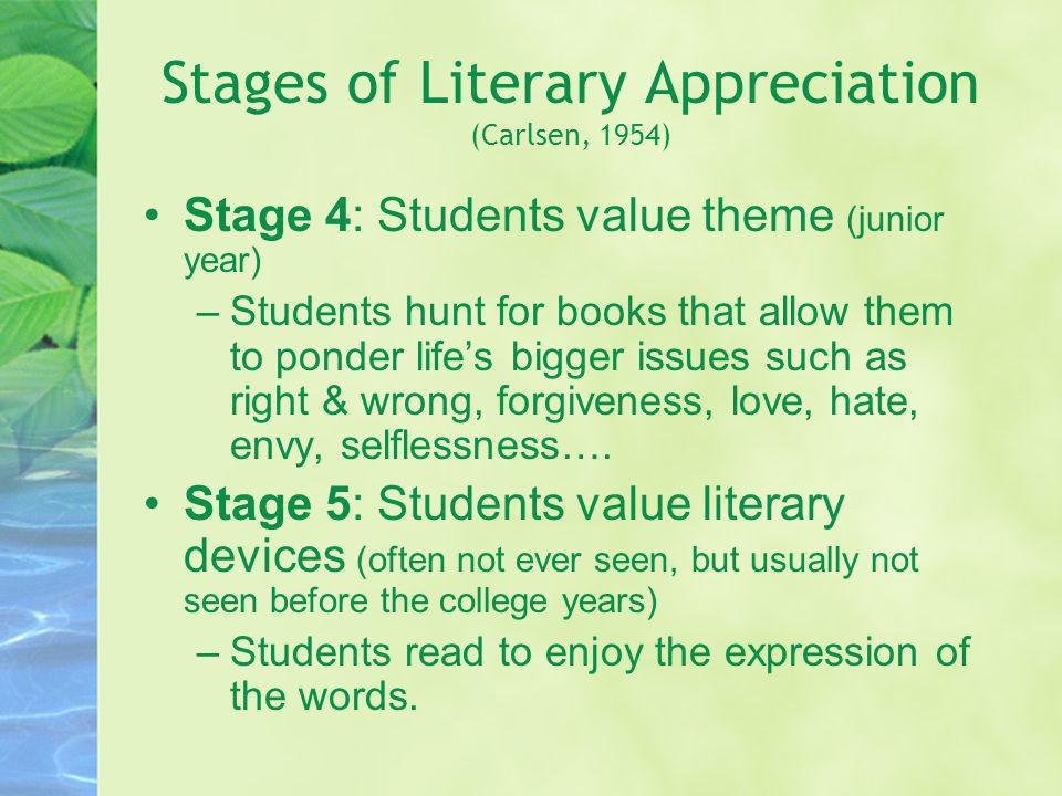 Stages of Literary Appreciation (Carlsen, 1954)