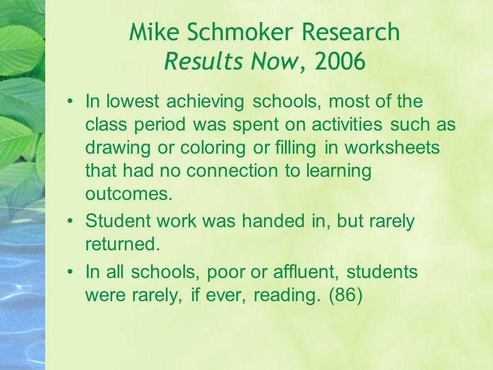 Mike Schmoker Research Results Now, 2006