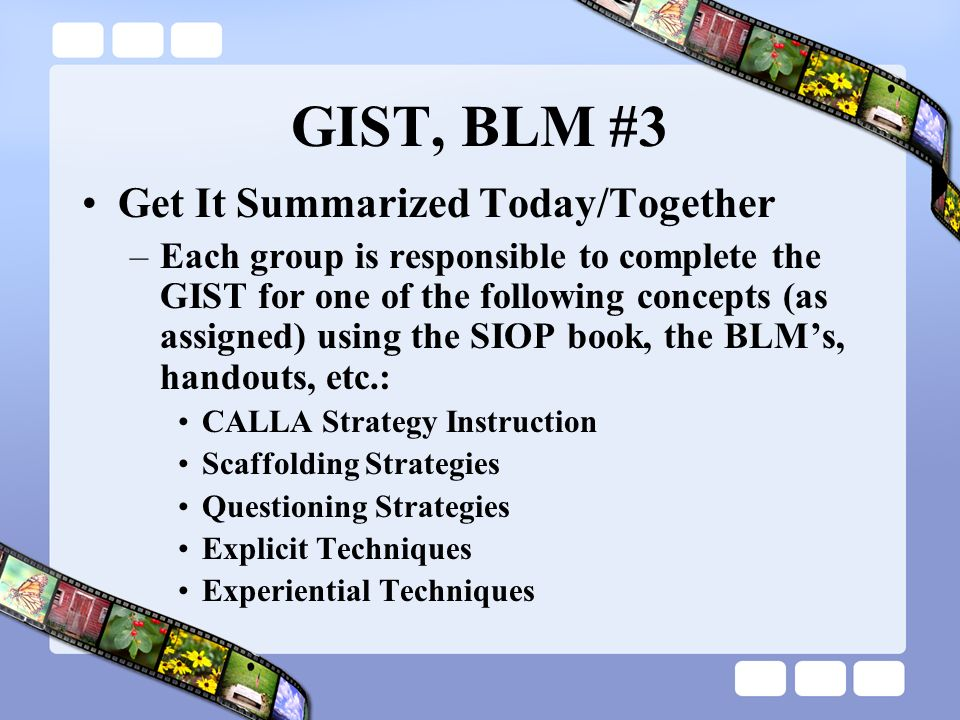 GIST, BLM #3 Get It Summarized Today/Together