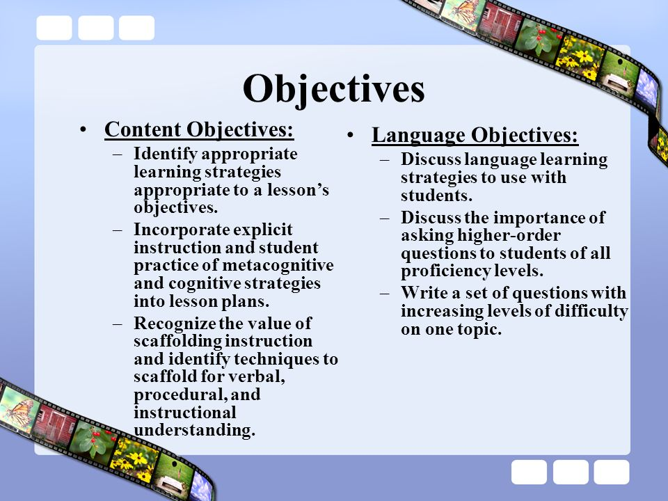 Objectives Content Objectives: Language Objectives: