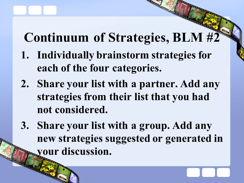 Continuum of Strategies, BLM #2