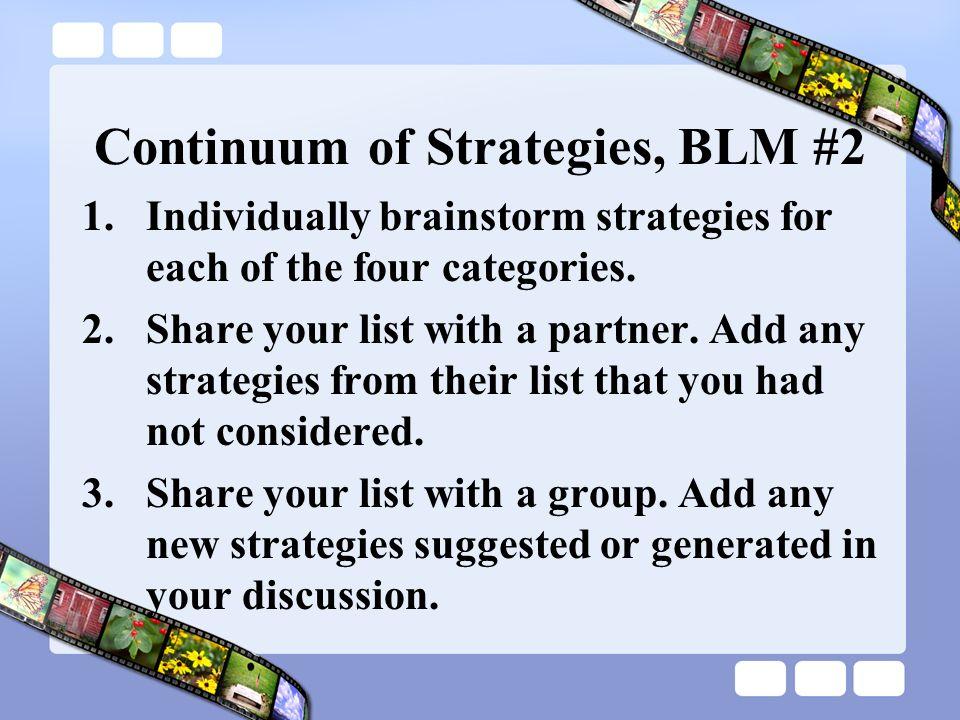 Continuum of Strategies, BLM #2