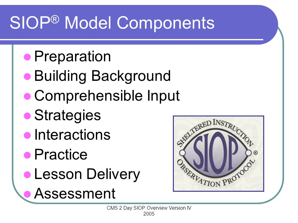 SIOP® Model Components