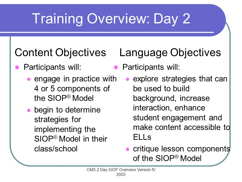 Training Overview: Day 2
