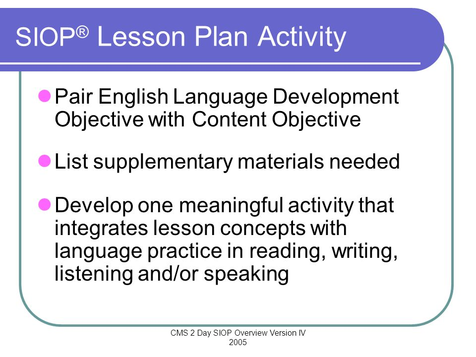 SIOP® Lesson Plan Activity