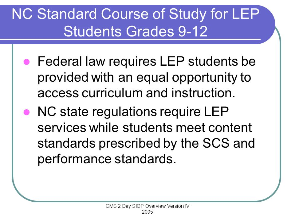 NC Standard Course of Study for LEP Students Grades 9-12