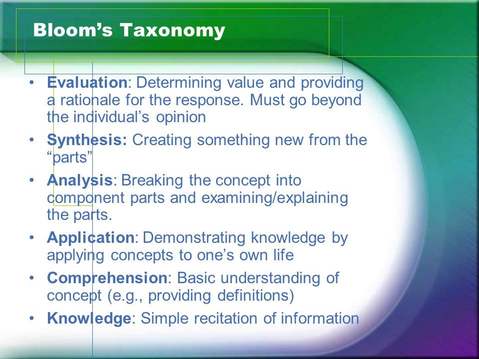 Bloom's Taxonomy Evaluation: Determining value and providing a rationale for the response. Must go beyond the individual's opinion.