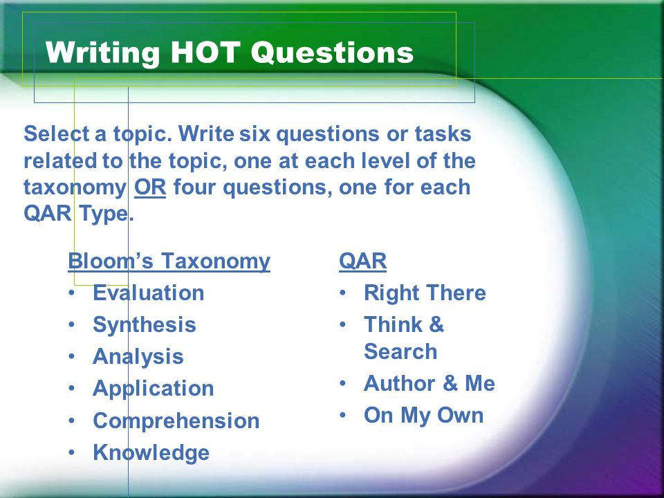 Writing HOT Questions