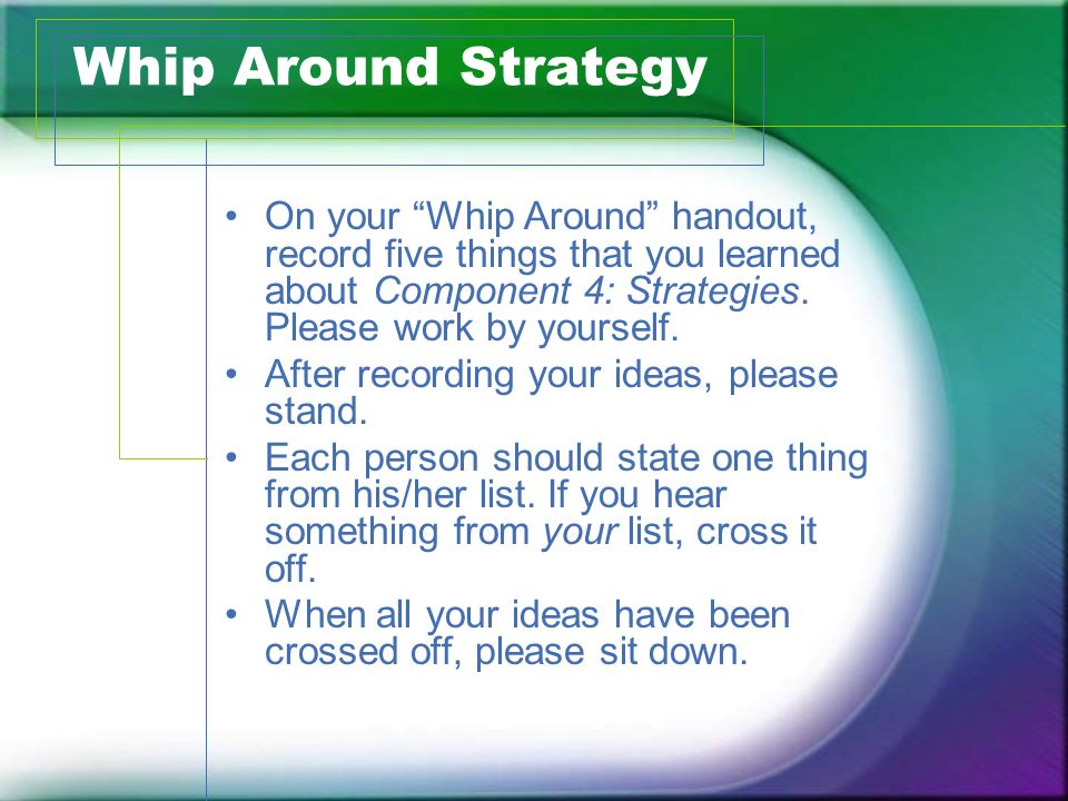 Whip Around Strategy On your Whip Around handout, record five things that you learned about Component 4: Strategies. Please work by yourself.