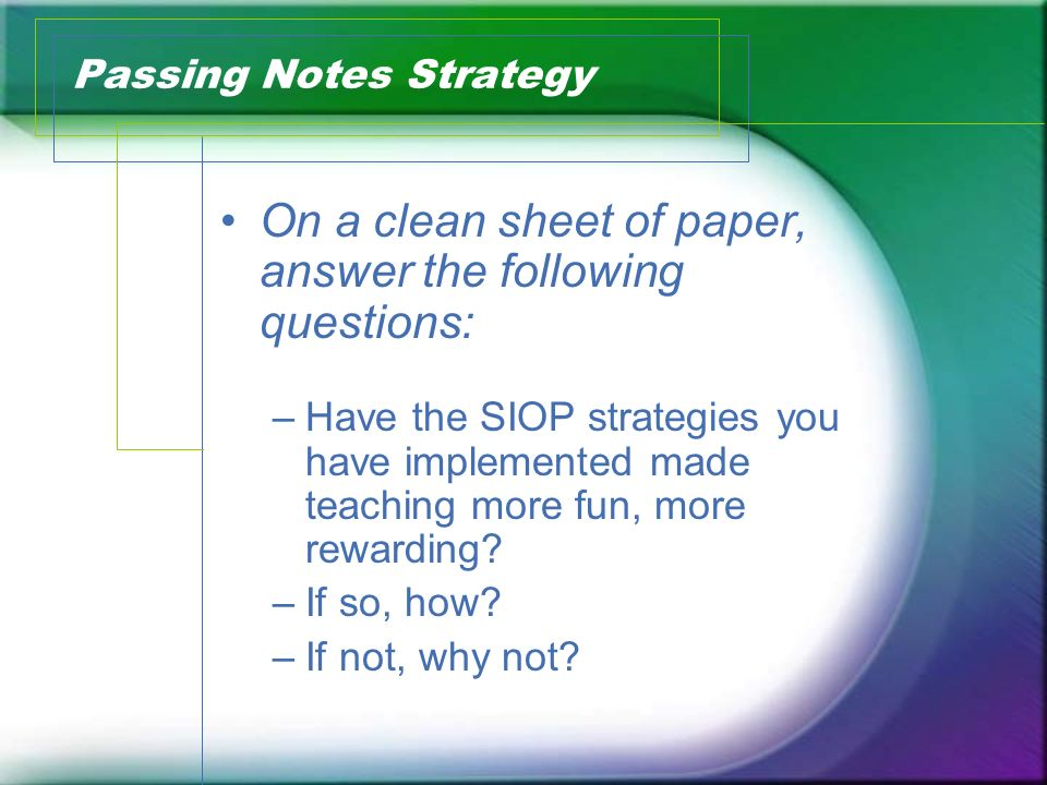 Passing Notes Strategy