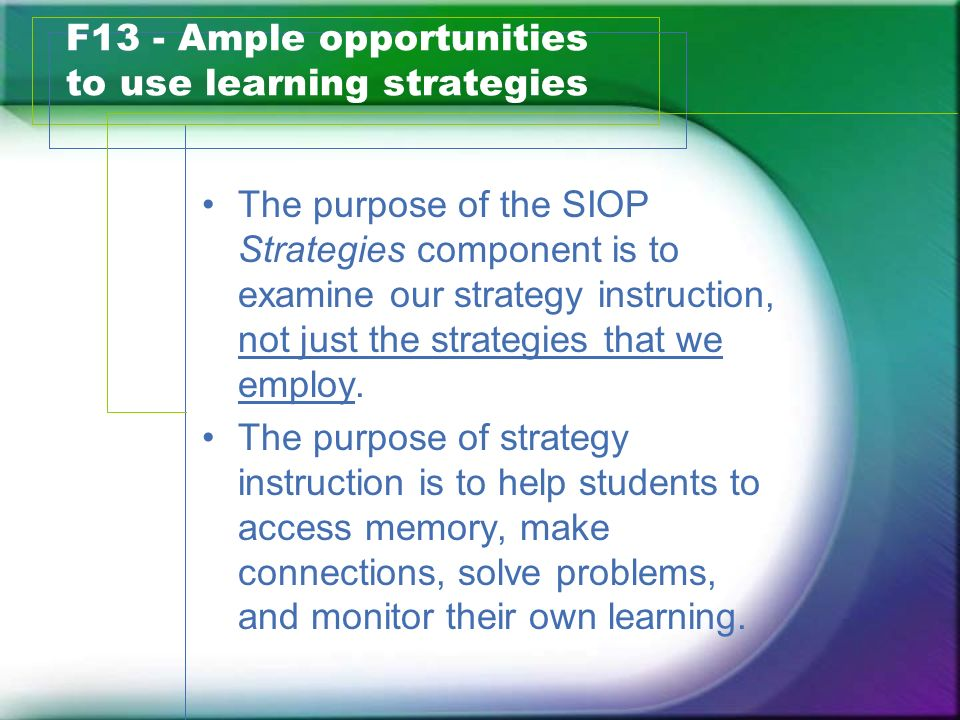F13 - Ample opportunities to use learning strategies