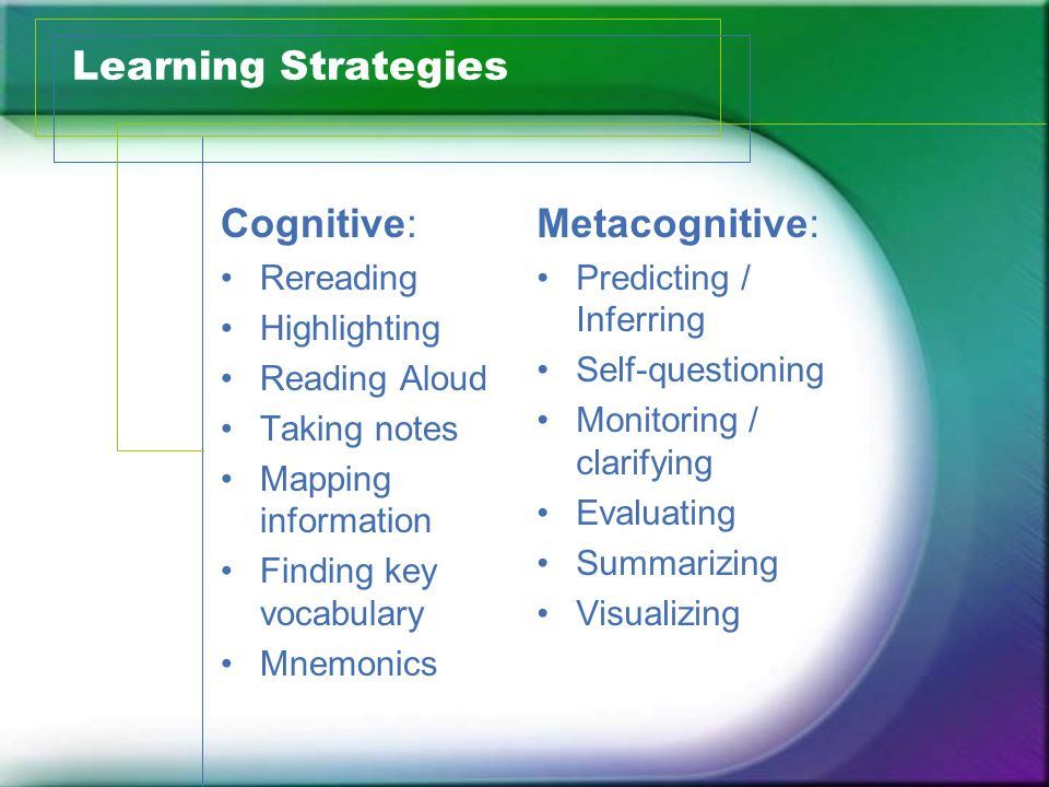 Learning Strategies Cognitive: Metacognitive: Rereading Highlighting
