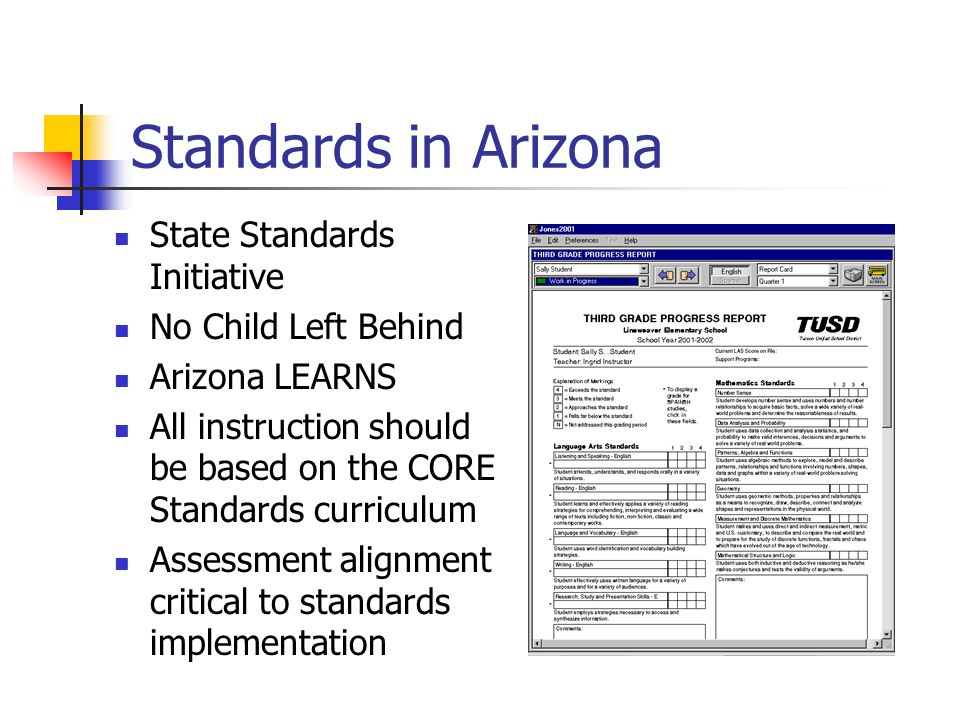 Standards in Arizona State Standards Initiative No Child Left Behind