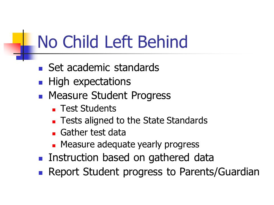 No Child Left Behind Set academic standards High expectations
