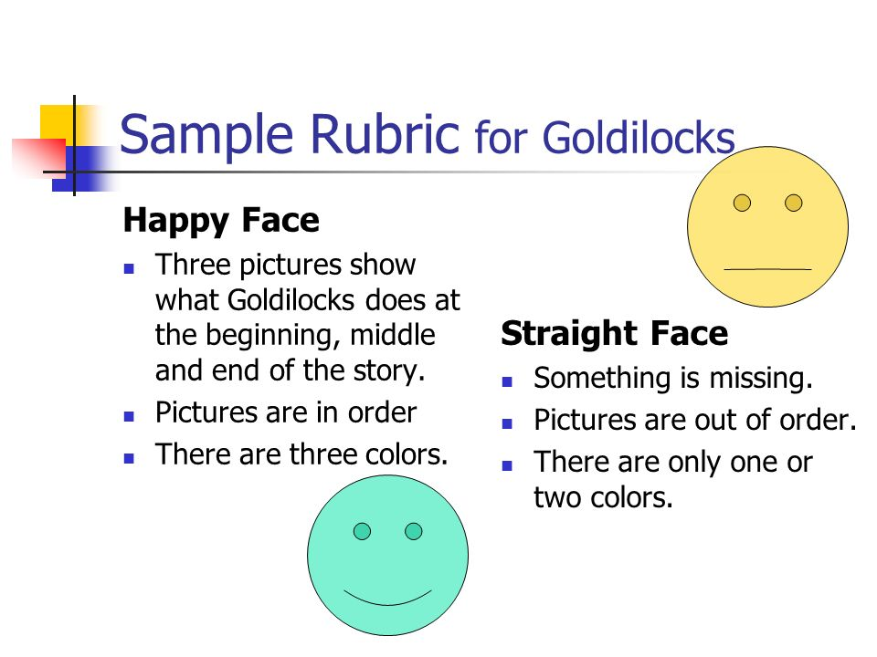 Sample Rubric for Goldilocks