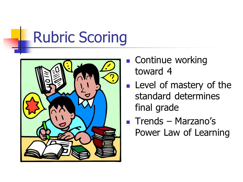 Rubric Scoring Continue working toward 4
