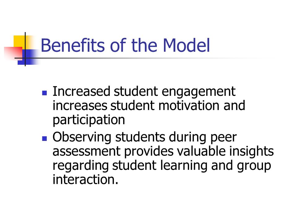 Benefits of the Model Increased student engagement increases student motivation and participation.