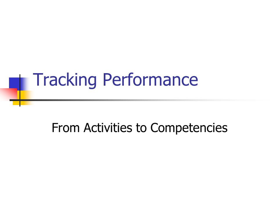 From Activities to Competencies