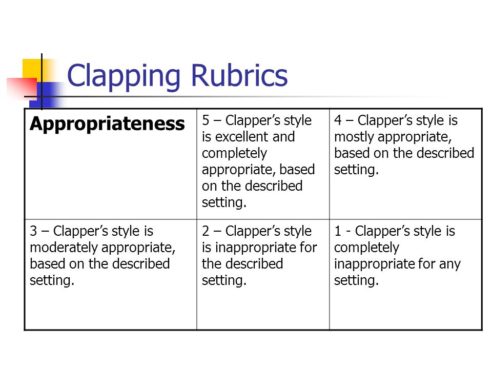 Clapping Rubrics Appropriateness