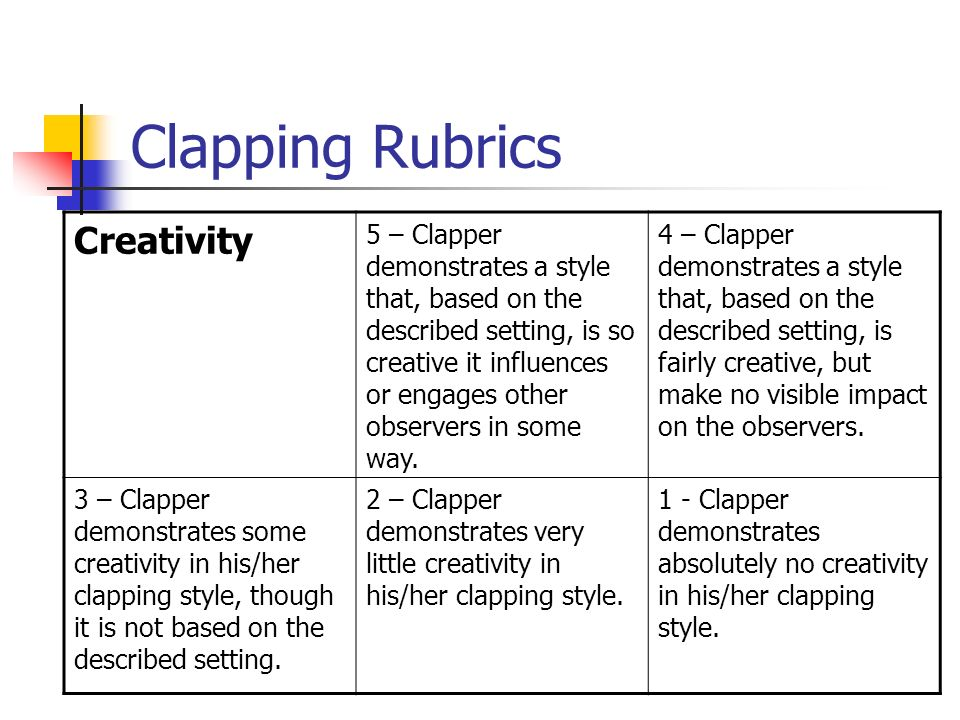 Clapping Rubrics Creativity