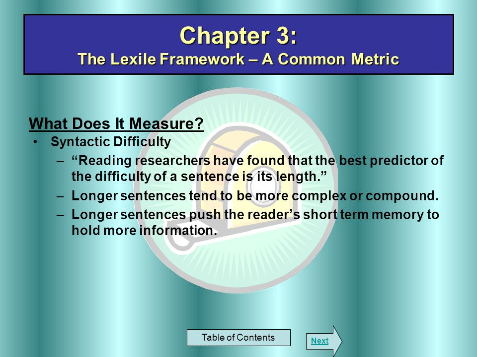 Chapter 3: The Lexile Framework – A Common Metric