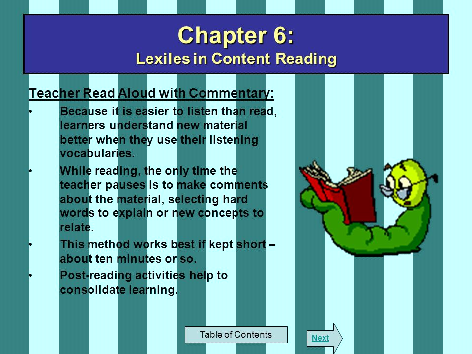 Chapter 6: Lexiles in Content Reading