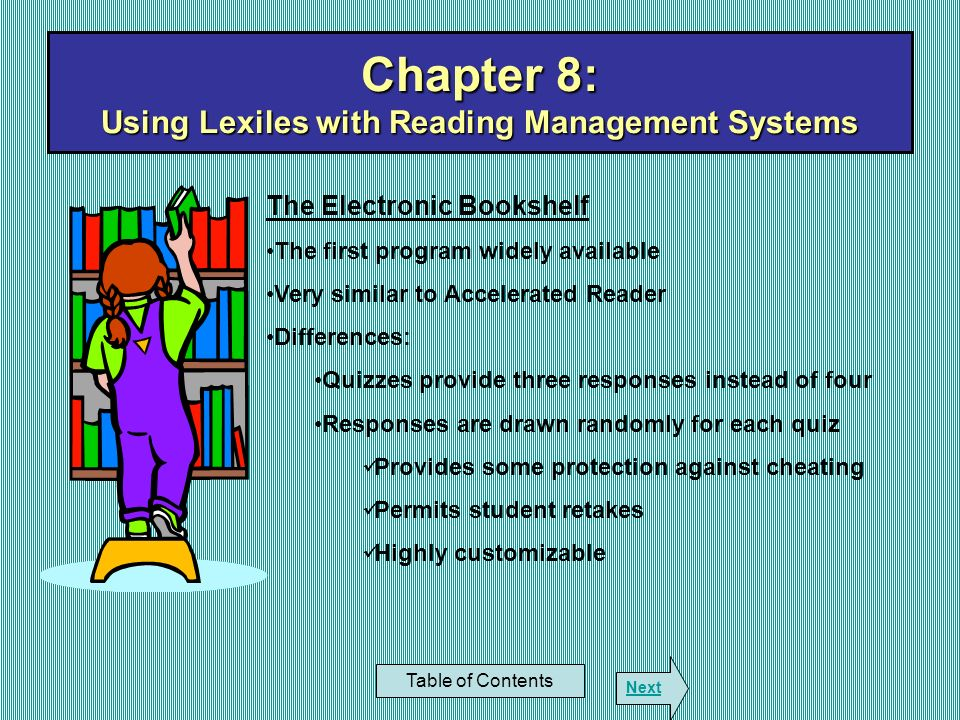 Chapter 8: Using Lexiles with Reading Management Systems
