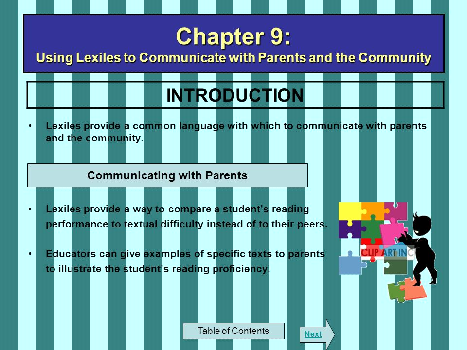 Chapter 9: Using Lexiles to Communicate with Parents and the Community
