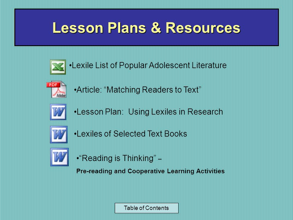 Lesson Plans & Resources