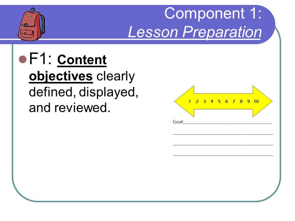 Component 1: Lesson Preparation