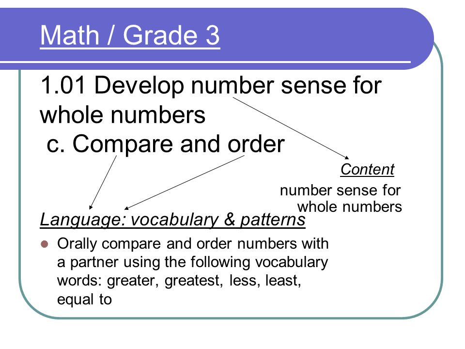 Math / Grade Develop number sense for whole numbers c