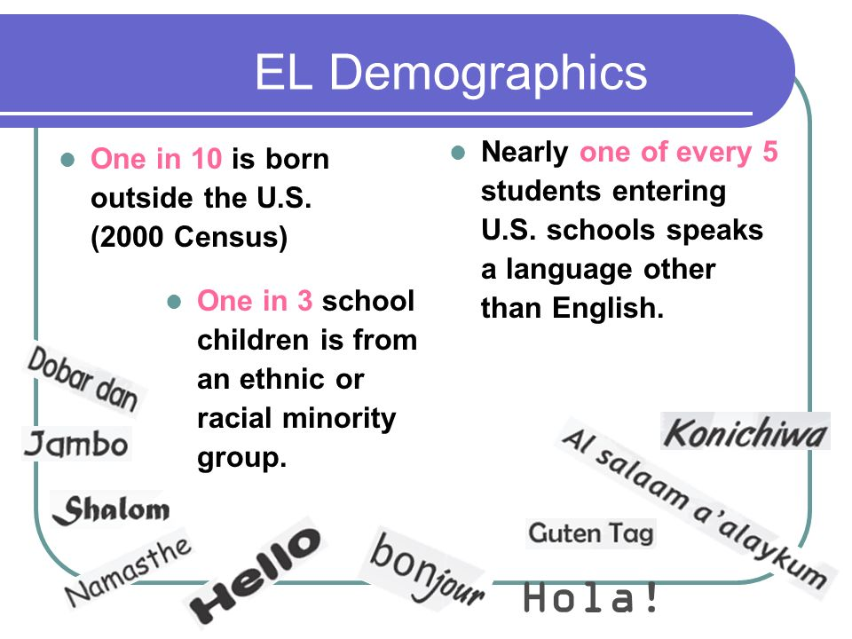 EL Demographics Nearly one of every 5 students entering U.S. schools speaks a language other than English.