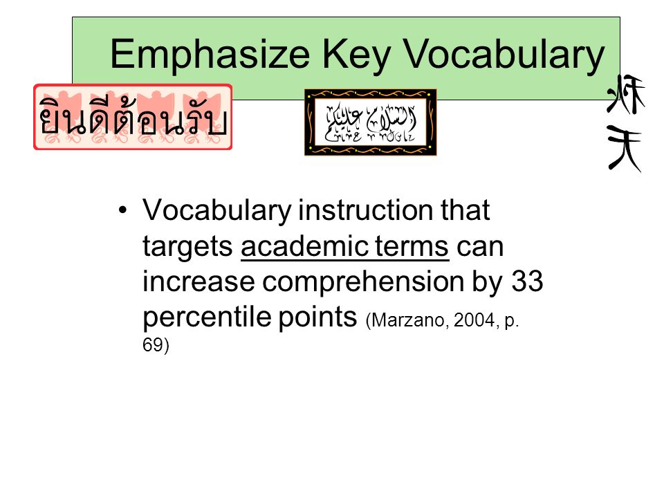 Emphasize Key Vocabulary