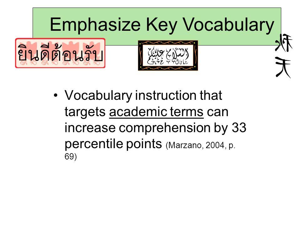 Emphasize Key Vocabulary