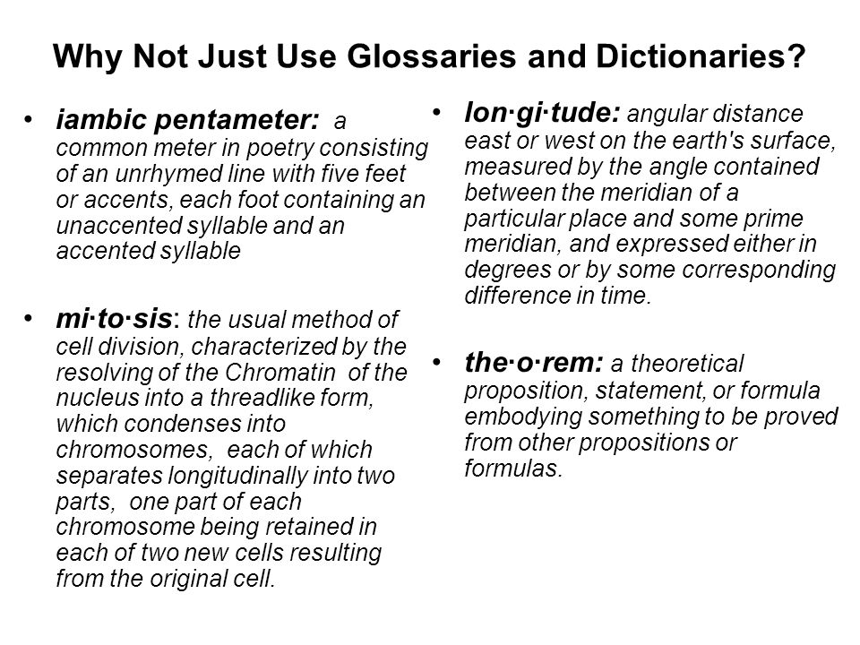 Why Not Just Use Glossaries and Dictionaries