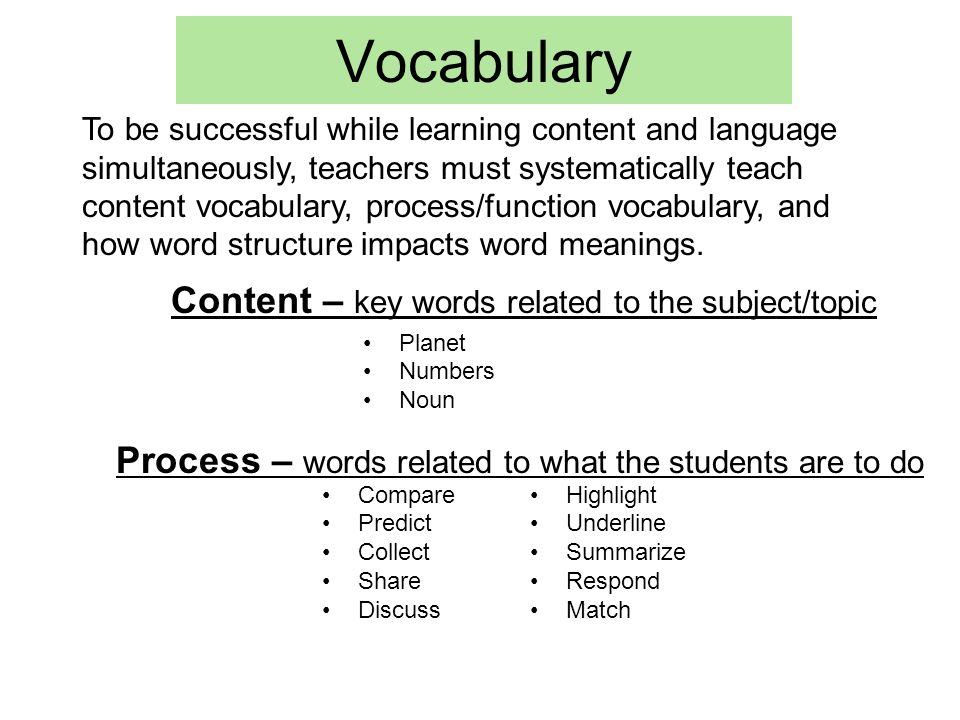 Vocabulary Content – key words related to the subject/topic