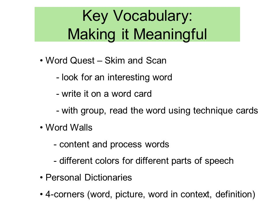Key Vocabulary: Making it Meaningful