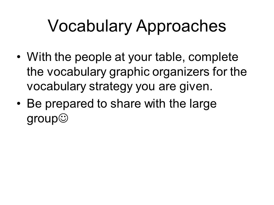Vocabulary Approaches