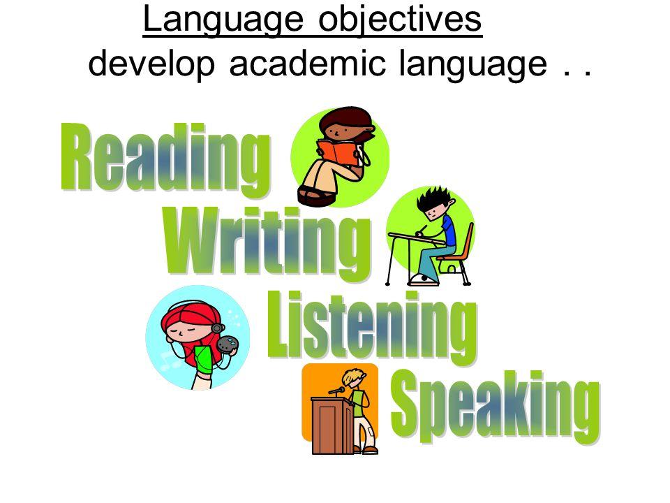 Language objectives develop academic language . . .