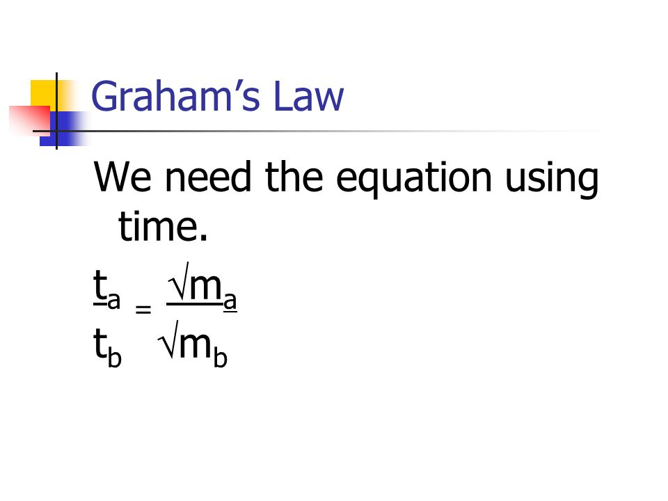 Graham's Law We need the equation using time. ta = ma tb mb
