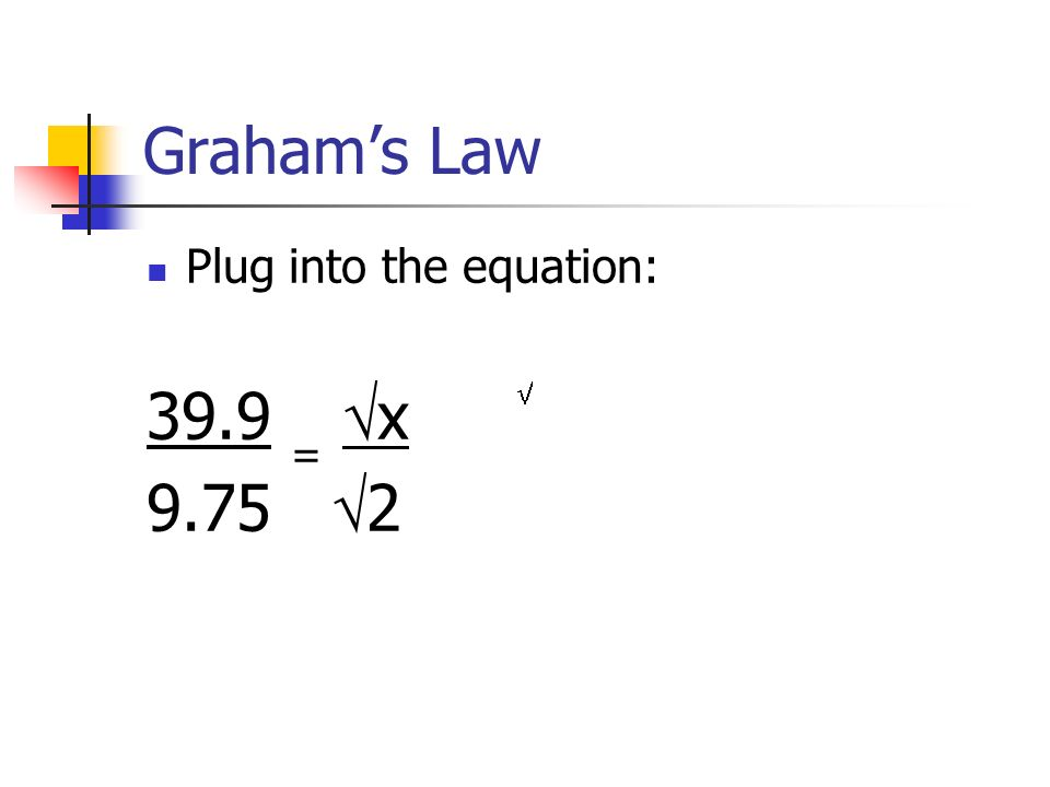 Graham's Law Plug into the equation: 39.9 = x 9.75 2 