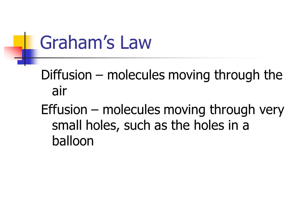 Graham's Law Diffusion – molecules moving through the air