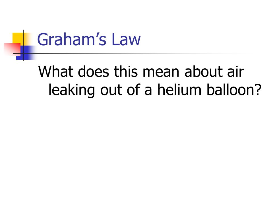 Graham's Law What does this mean about air leaking out of a helium balloon