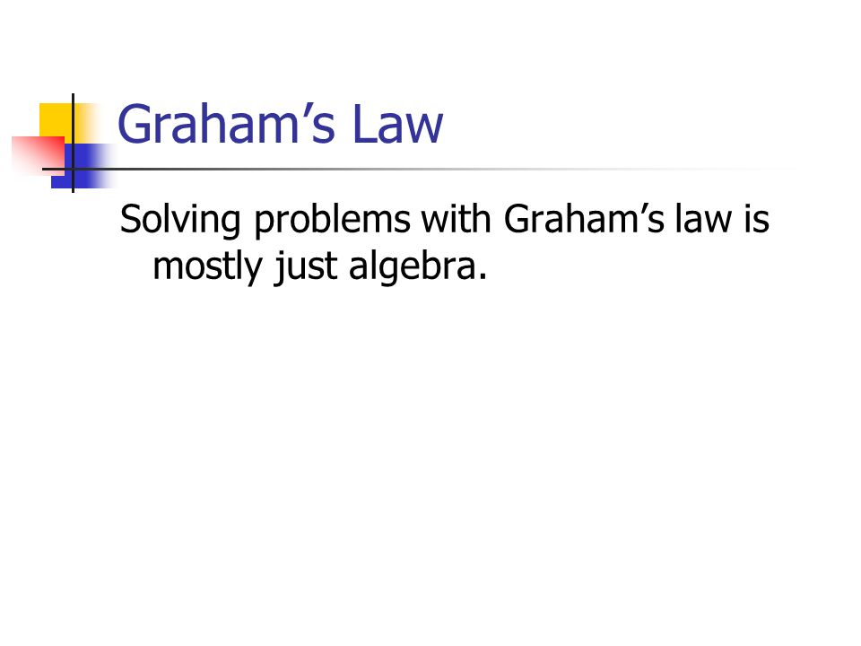 Graham's Law Solving problems with Graham's law is mostly just algebra.