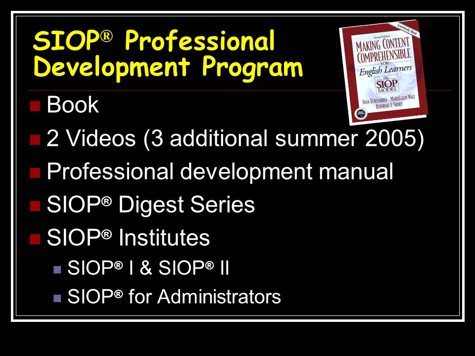 SIOP® Professional Development Program