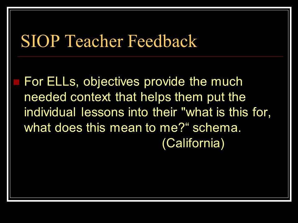 SIOP Teacher Feedback